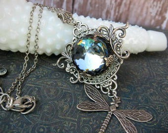 Steely Blue Swarovski Dragonfly Necklace