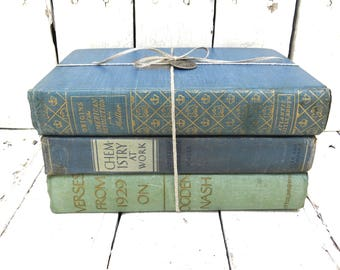 Vintage Books, Blue and Green Books, Old Blue Books, Decor Books, Antique Books, Home Office Decor, Instant Library, Shabby Cottage Chic