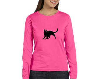 Cat Shirt With Long Sleeves, Long Sleeved Cat Tshirt, Cotton Crewneck Missy Fit Graphic Tee Shirt, Hand Screenprinted, Gift for Cat Lover