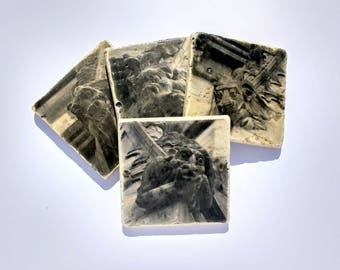 Scottish Gargoyle Photo Coasters - Stone Grotesque Coasters - Scottish Grotesque Coasters - Stone Coasters Gargoyles Halloween