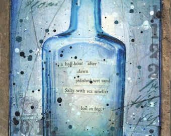 Message in a Bottle No. 18 | Original Painting | Rustic Beach Art | Word Art | Mixed Media Art | New England Art