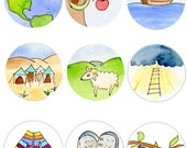 Jesse Tree Ornaments, Printable, Watercolor Print, Downloadable, Kids Christmas Craft, Sunday School, Advent Activity, Bible Devotions