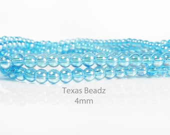 4mm Aqua Blue Beads Iridescent AB Glass Beads Round Smooth Loose Beads Full Strand Aurora Borealis