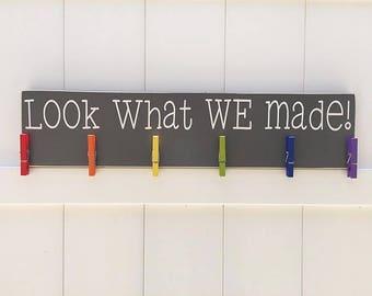 Look What We Made // Art Display // Sibling Art Holder // Sibling Art Sign // Sibling Art // Personalized Kid Signs // Child Artwork Hanger
