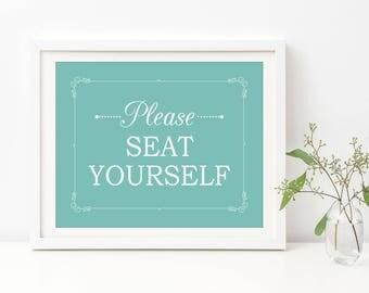 Bathroom Funny Decor, Turquoise Bathroom Decor, Please Seat Yourself Sign,  Bathroom Wall Art