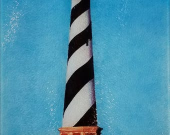 Cape Hatteras Light Station glass Cutting Board serving tray nautical gift Lighthouse