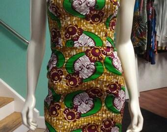 Ankara Bombshell Mini Dress in Beautiful African Wax Block Cotton