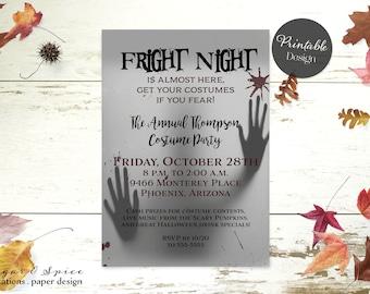 Halloween Invitation Printable, Adult Halloween Party Invitation, Fright Night Party Invitation, Halloween Invitations Costume