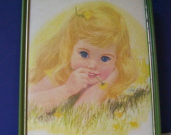 Vintage Northern Tissue Art Print Little Blond Girl Signed F. Hook (Francis Hook), Children's Decor, Little Girl, Child's Room