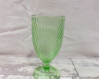 Depression Glass Green Tumbler Federal Glass Footed Swirl Water Goblet 1930s Marked
