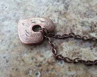 Copper Heart Necklace   Rustic Hole in My Heart Charm on Antique Copper Chain  Symbol of Love   Miss You Pendant