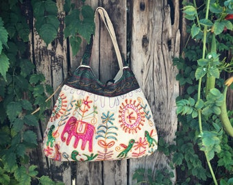 Vintage embroidered fabric shoulder bag with pink elephant hippie purse back to school tote