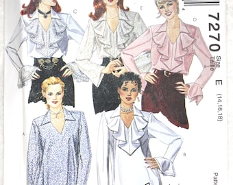 """Sz E 14, 16, 18 Bust 36"""" - 40""""   McCall's Sewing Pattern 7270 Elegant Ruffled Blouse with Sleeve Variations Uncut"""