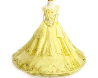 BELLE DRESS  for Girls! Beauty and the Beast 2017 Disney Ballroom Gown in Yellow and Gold free accessories