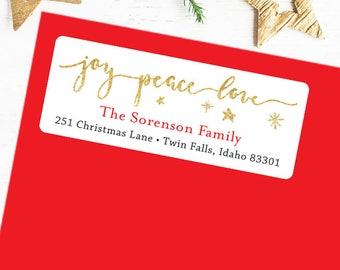 Christmas Address Labels - Joy Peace Love - Sheet of 30