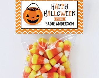 Halloween Treat Labels & Tags - Treat Pail - Set of 24 personalized paper tags and 24 treat bags