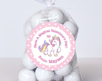 Valentine's Day Stickers - Unicorn - Sheet of 12 or 24