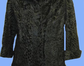 Vintage 1950's  Lambs Tail Coat with Mink Trim top and bottom SZ M