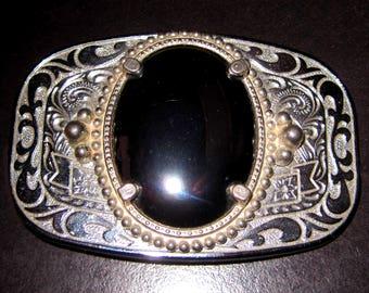 Black Onyx  Silver metal Belt Buckle
