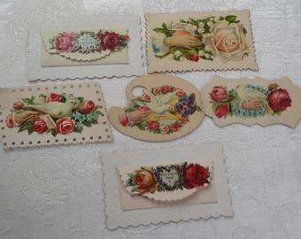 Vintage Victorian Calling Cards Hidden Names 6 Pc.