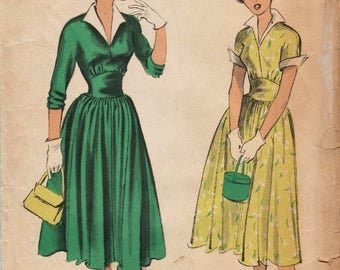 Advance 5487 / Vintage 50s Sewing Pattern / Dress / Size 15 Bust 33