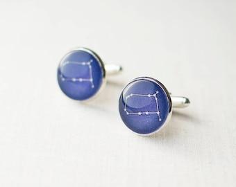 Gemini Cufflinks. Constellation Cufflinks. Zodiac Cufflinks. Star Sign Cuff Links. Astronomy Cufflinks. Space Cufflinks. Silver Cufflinks.