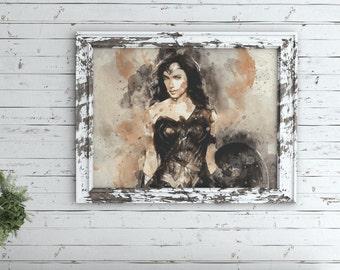 Wonder Woman - Digital Download Print - DIY - Instant Gift - Printable - Watercolor