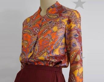 vintage printed shirt, vintage female blouse, vintage women shirt, vintage blouse