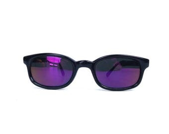 vintage 80s deadstock sunglasses black plastic frame sun glasses eyewear men women classic traditional rectangle pink purple revo NOS 187