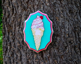 Ice Cream Cone on Blue - Hand Embroidery on Wood