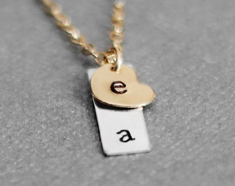 Tiny Vertical Initial Necklace, Tiny Heart Necklace, Valentines Day Two Letter Necklace, Dainty Letter, Gold Filled, Sterling Silver Bar