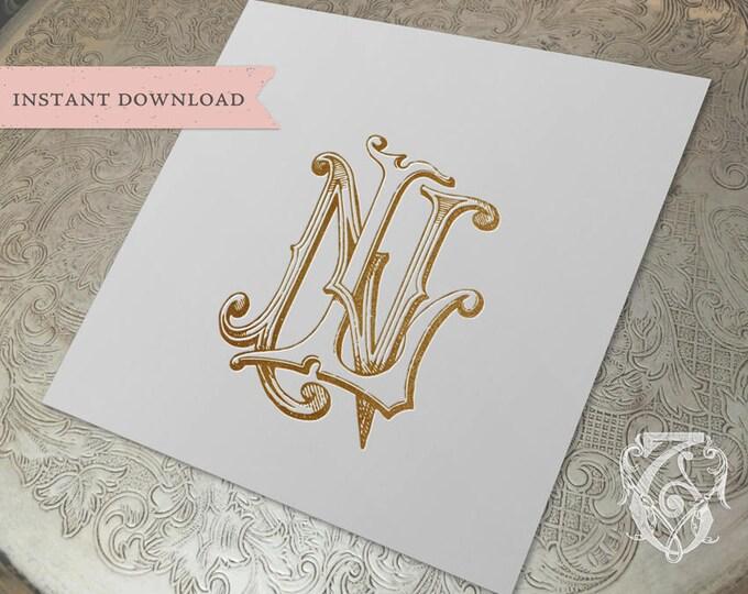 Vintage Wedding Monogram NL LN Digital Download N L