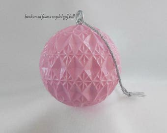 Light Pink Ornament, Hand Carved Christmas Ornament, Carved Golf Ball, Unique Golf Gift for Women Golfer