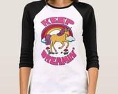 Keep Dreamin' T Shirt... Unicorn T Shirt... 3/4 Length Sleeves... Motivational T Shirt.. UNISEX STYLE... Inspirational T Shirt
