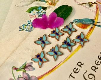 Enamel Butterfly Cabochons,Vintage Cabochons,Copper cabochons,butterflies,NOS,White butterflies,Enameled Butterflies,Farmers Market #G45S