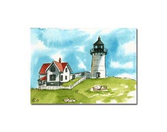 LIGHTHOUSE 3 Nubble York Maine watercolor seascape painting Sandrine Curtiss ORIGINAL art ACEO