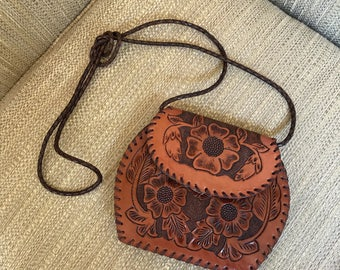 70s Char Santa Fe Tooled Leather Purse Handcrafted Mexico Braided Strap Small Crossbody Bag Fabulous