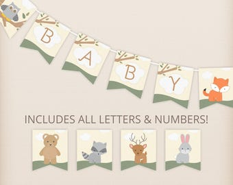 Woodland Animals Baby Shower Banner, All Letters, Custom DIY Baby Shower Decor- PRiNTABLE INSTANT DOWNlOAD