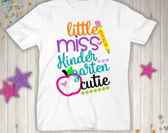 Adorable Personalized Back to School Shirt  - Little Miss Kindergarten Cutie.  Personalized with any name!