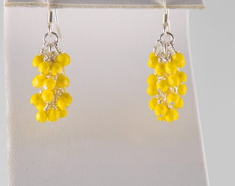 Bright Yellow and Silver Dangling Earrings