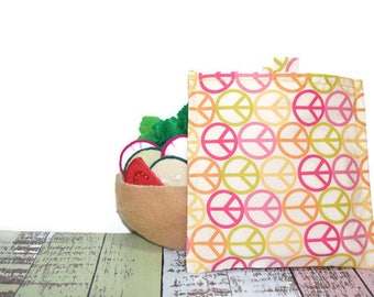 Reusable Sandwich Bag | Snack Bag | Eco Friendly | Waste Free Lunch Bag | Zero Waste | Lunch Bag | Peace Signs | Hippie | Easy Open Tabs |