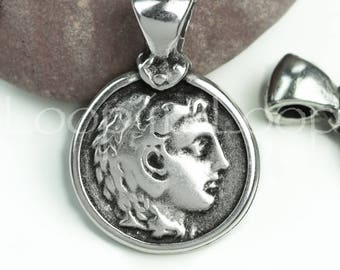 Alexander The Great Pendant Antique Silver Ancient Greek Coin replica charm double sided with bail Mykonos Casting DIY Round 30X20mm (P141)
