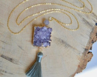 Purple Druzy and Gray Tassel Long Necklace. Long Gold Pendant Necklace.