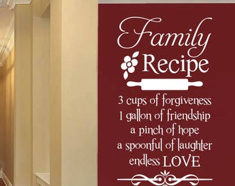 Family Recipe Kitchen Quote, Vinyl Wall Lettering, Vinyl Decals, Wall Quotes, Vinyl Letters, Wall Words, Kitchen Decal, Family Quote