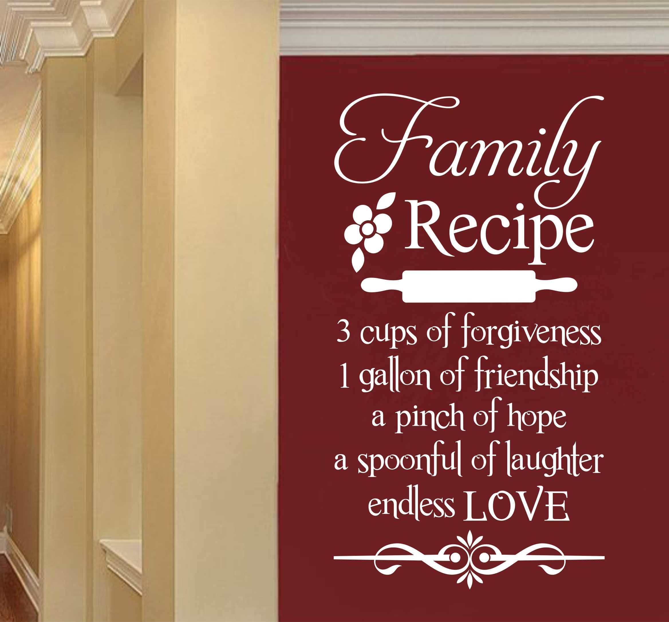 Family Recipe Kitchen Quote Vinyl Wall Lettering Vinyl