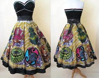 Killer 1950's Crisp Cotton Hand Painted Mexican Circle Skirt Vintage Mexicana Western Rockabilly Size Medium