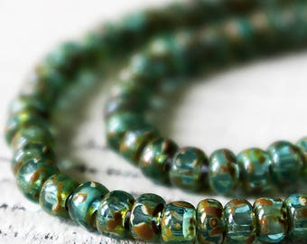 Size 6/0 - 3 Cut Aged Picasso Seed Beads - Jewelry Making Supply - Picasso Trica Beads - Green Aqua Picasso finish - Choose Amount