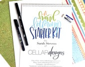 Hand Lettering Starter Kit - Beginner Brush Calligraphy - Learn Calligraphy - Brush Lettering Kit - Modern Calligraphy Worksheets