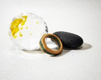 Maple and Walnut Wood Ring with Crushed Malachite and Turqoise Gemstone - Size 7 U.S.