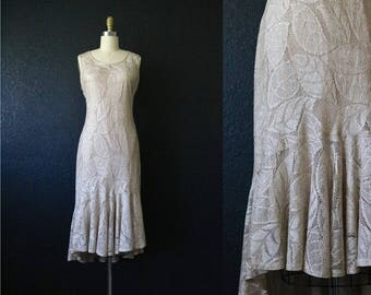 1970's champagne gold foliage lace dress / m-l